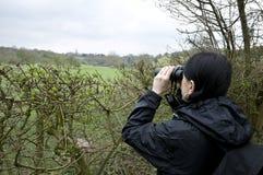 Donna che birdwatching Immagini Stock