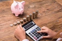Donna che calcola le finanze Fotografia Stock