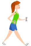 Donna che cammina con le teste di legno illustrazione vettoriale