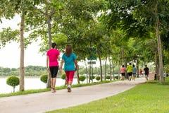 Donna che cammina nel parco, esercizio per sano fotografia stock libera da diritti