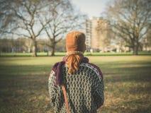 Donna che cammina nel parco un giorno di inverno Fotografie Stock