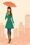 Donna che cammina nella città piovosa, vista frontale illustrazione di stock