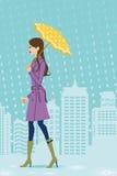 Donna che cammina nella città piovosa, vista laterale illustrazione vettoriale
