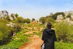Donna che cammina su un paesaggio roccioso preistorico dal giurassico immagini stock