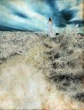 Donna che cammina sulla priorità bassa di Grunge Immagine Stock