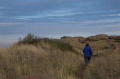 Donna che cammina sulla traccia della regione selvaggia Immagine Stock Libera da Diritti