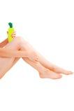 Donna che cattura cura della sua pelle. Fotografia Stock Libera da Diritti