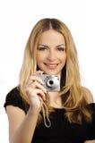 Donna che cattura una foto Fotografie Stock Libere da Diritti