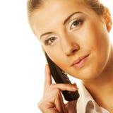 Donna che chiama dal telefono Immagini Stock Libere da Diritti