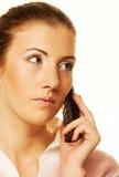 Donna che chiama dal telefono Immagine Stock