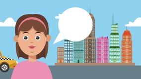Donna che chiama taxi nell'animazione della città HD illustrazione di stock