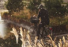 Donna che cicla in pioggia con l'indumenti impermeabili - caduta delle gocce di pioggia pesante immagine stock libera da diritti