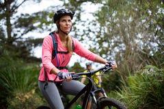 Donna che cicla sulla strada Immagini Stock Libere da Diritti