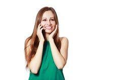 Donna che comunica sul mobile Immagine Stock Libera da Diritti