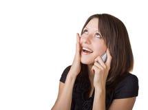 Donna che comunica sul suo telefono delle cellule Immagine Stock Libera da Diritti