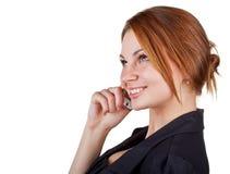 Donna che comunica sul suo telefono delle cellule Fotografia Stock Libera da Diritti