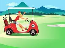 Donna che conduce un carretto di golf illustrazione vettoriale