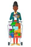 Donna che conta sul calcolatore illustrazione vettoriale