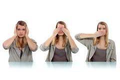 Donna che copre i suoi occhi Fotografia Stock