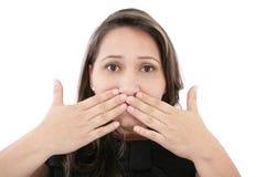 Donna che copre il fronte Fotografia Stock