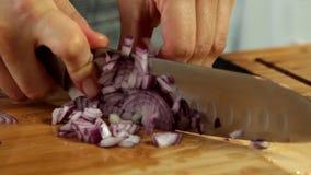 Donna che cucina a casa - taglio delle cipolle archivi video