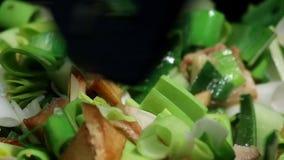 Donna che cucina le verdure e carne stock footage