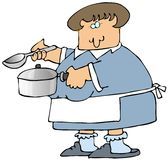 Donna che cucina minestra illustrazione vettoriale