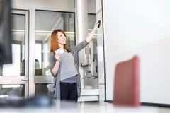 Donna che dà presentazione nel corridoio di conferenza all'università Fotografie Stock