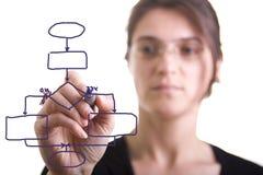 Donna che dissipa un diagramma di flusso Fotografia Stock Libera da Diritti