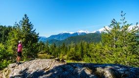Donna che esamina la catena montuosa di Tantalus con i picchi innevati della montagna di Alpha Mountain, di Serratus e di Tantalu Immagini Stock