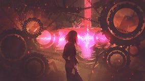 Donna che esamina la luce rossa tramite gli ingranaggi illustrazione vettoriale