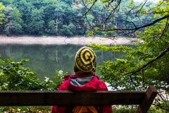 Donna che esamina lago Immagini Stock