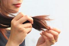Donna che esamina le doppie punte nocive di capelli, concetto di Haircare fotografia stock