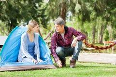 Donna che esamina uomo che prepara tenda in parco immagini stock libere da diritti