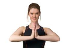 Donna che esercita benessere con forma fisica di yoga Immagine Stock Libera da Diritti