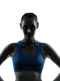 Donna che esercita il ritratto di forma fisica Fotografia Stock
