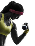 Donna che esercita la siluetta di addestramento del peso di allenamento di forma fisica Fotografia Stock Libera da Diritti