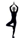 Donna che esercita la siluetta di yoga di posa dell'albero di Vrksasana Fotografia Stock