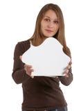 Donna che espone la scheda di puzzle Immagine Stock Libera da Diritti