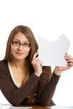 Donna che espone la scheda di puzzle Immagini Stock Libere da Diritti