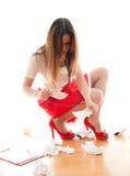 Donna che estrae gli strati Fotografia Stock Libera da Diritti