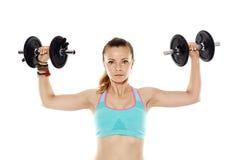 Donna che fa allenamento della spalla Fotografie Stock