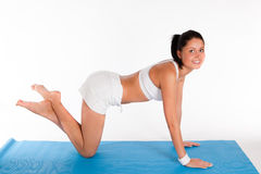 Donna che fa esercitazione del push-up immagine stock