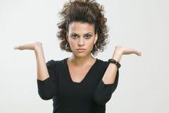 Donna che fa i gesti Fotografia Stock