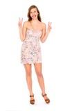 Donna che fa il segno di pace Fotografia Stock