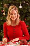 Donna che fa le cartoline di Natale nel paese Immagine Stock Libera da Diritti