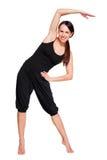 Donna che fa le esercitazioni sportive. isolato su bianco Immagine Stock Libera da Diritti