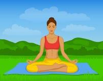 Donna che fa meditazione di yoga in Lotus Pose Outside Vector Illustration Immagini Stock Libere da Diritti