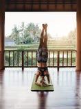 Donna che fa posa di yoga del headstand Fotografia Stock