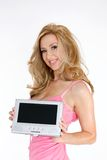 Donna che fa pubblicità al prodotto immagine stock